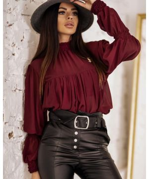 O la Voga Burgundy Sally Blouse