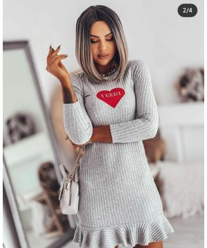 Red Heart Frilly Grey Dress