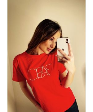 Red Embroidered Basic T-Shirt