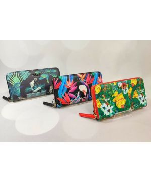 Black Base Colourful Jungle Wallet