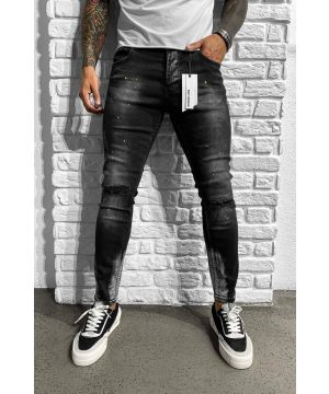 """Black/yellow ,,spotted"""" denim jeans 6194"""