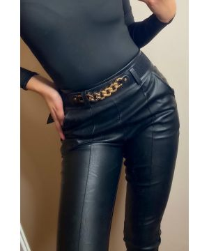 Gold Chain Black Leather Pants