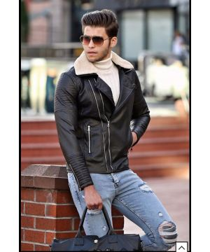 OPN Black Fur Collar Leather Jacket